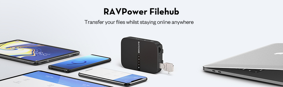 RAVPOWER Filehub copia de tarjetas SD sin ordenador o computador
